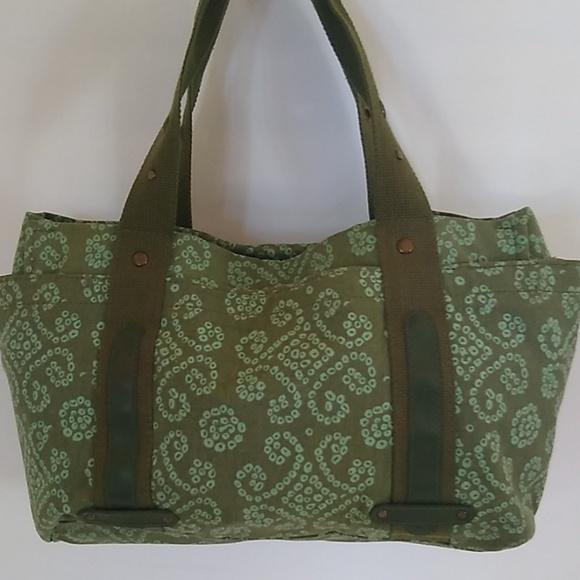 Cool Satchel Handbags - Cool Crafted Green Canvas Jacguard Satchel